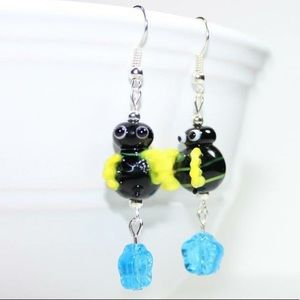 Jewelry - Cute Lampwork Bumblebee Earrings Handmade New